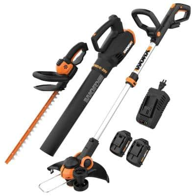 Worx POWER SHARE 20V Cordless Trimmer/Edger, Hedge Trimmer, Leaf Blower Combo Kit (3 Tool) w/ 2 Batteries and 1hr Charger