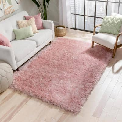 Kuki Chie Glam Solid Textured Ultra-Soft Plush Pink 7 ft. 10 in. x 9 ft. 10 in. 2-Tone Shag Area Rug