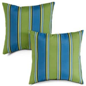 Cayman Stripe Square Outdoor Throw Pillow (2-Pack)