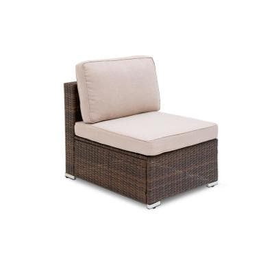 Brantford 1-Piece Brown Wicker Steel Frame Outdoor Armless Sectional Chair with Beige Cushions