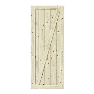 33 in. x 84 in. Chalet Z Brace Unfinished Knotty Pine Interior Barn Door Slab