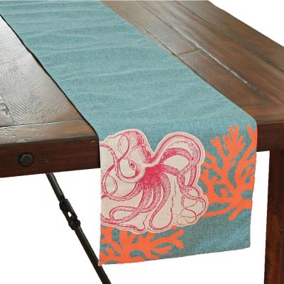 Sea Life 13.5 in. x 72 in. Blue Applique Octopus With Print Coral Coastal Table Runner