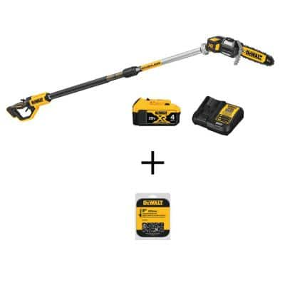 8 in. 20-Volt MAX Lithium-Ion Cordless Pole Saw Kit with 1 Battery 4.0 mAh Charger Sheath & 8 in. Chainsaw Chain 34 Link