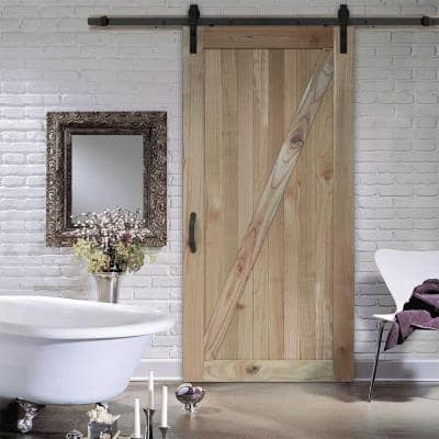 42 in. x 84 in. Rustic Unfinished Solid Wood Sliding Barn Door with Hardware Kit