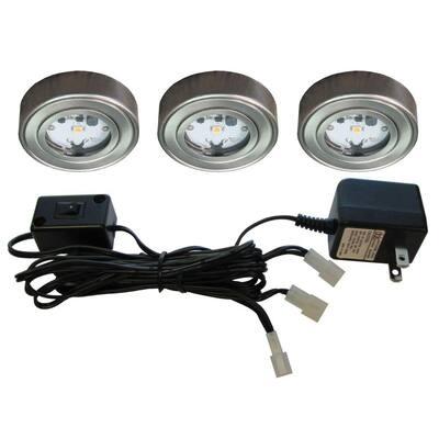 Enviro Satin Nickel Metal LED Puck Light (3-Pack)