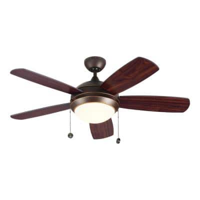 Discus Classic 44 in. Integrated LED Indoor Roman Bronze Ceiling Fan with 3000K Light Kit