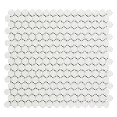 Cascades Vanilla 12.5 in. x 11.5 in. Penny Round Matte Porcelain Mesh-Mounted Mosaic Tile (1.00 sq. ft./Each)