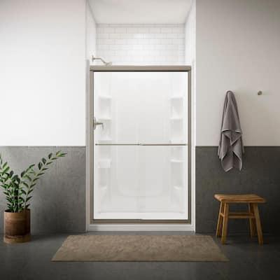 Finesse 47-5/8 in. x 70-1/16 in. Frameless Sliding Shower Door in Nickel with Handle