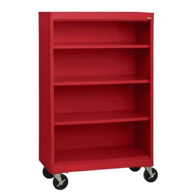 58 in. Red Metal 4-shelf Cart Bookcase with Adjustable Shelves