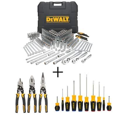 Mechanics Tool Set (204-Piece) with Bonus Compound Pliers Set (3-Pack) and Screwdriver Set (10-Piece)