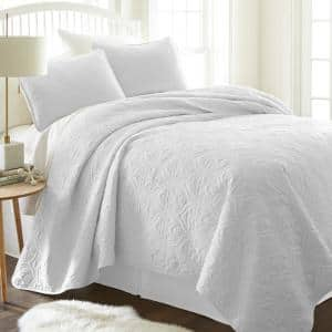 Damask White Microfiber King Performance Quilted Coverlet Set
