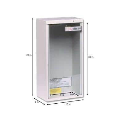 28 in. H x 10 in. W x 8 in. D 20 lb. Heavy-Duty Steel Surface Mount Fire Extinguisher Cabinet in White