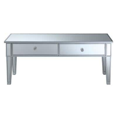 43 in. Clear/Silver Large Rectangle Glass Coffee Table with Drawers
