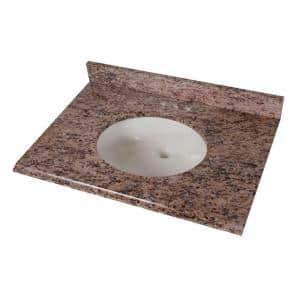 31 in. Stone Effects Vanity Top in Santa Cecilia with White Sink