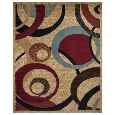 Contemporary Beige 8 ft. x 10 ft. Abstract Area Rug