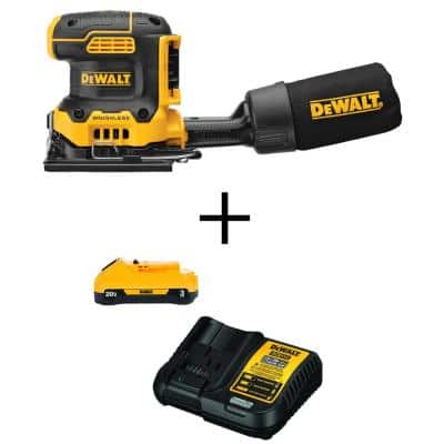 20-Volt MAX XR Cordless Brushless 1/4 Sheet Variable Speed Sander with (1) 20-Volt Battery 3.0Ah & Charger