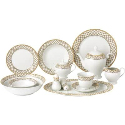57-Piece Specialty Gold Porcelain Dinnerware Set (Service for 8)