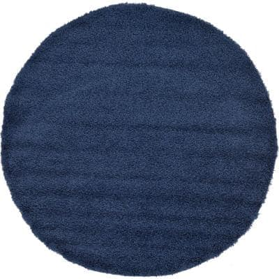 Solid Shag Navy Blue 6 ft. Round Area Rug