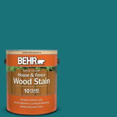 1 gal. #T15-3 Essential Teal Solid Color House and Fence Exterior Wood Stain