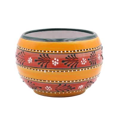 Talavera 9 in. Orange Baul Ceramic Planter
