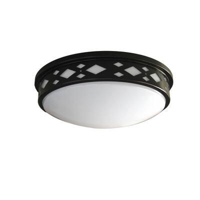 Diamond Lattice 14 in. 1-Light Bronze LED Flush Mount 3000K