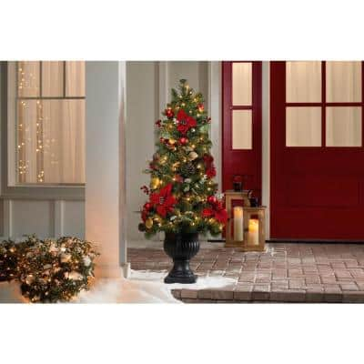 4.5 ft Berry Bliss Mixed Pine Potted Pre-Lit Artificial Christmas Tree with 70 Warm White Mini Lights