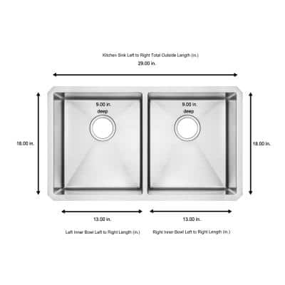 Edgewater All-in-One Undermount Stainless Steel 29 in. 50/50 Double Bowl Kitchen Sink with faucet in Stainless Steel