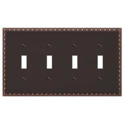 Antiquity 4 Gang Toggle Metal Wall Plate - Aged Bronze