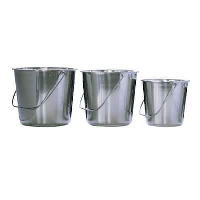 Assorted Stainless Steel Bucket Set (3-Piece)