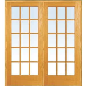 72 in. x 80 in. Right Hand Active Unfinished Pine Glass 15-Lite Clear True Divided Prehung Interior French Door