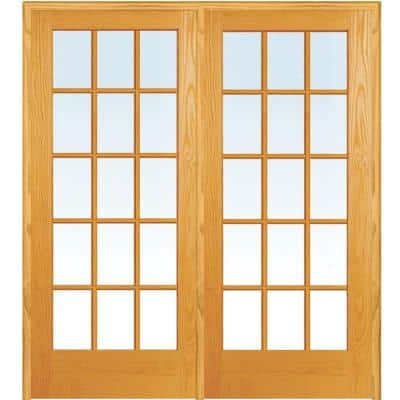 60 in. x 80 in. Left Hand Active Unfinished Pine Glass 15-Lite Clear True Divided Prehung Interior French Door