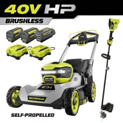 40V HP Brushless 21 in. Cordless Walk Behind Self-Propelled Lawn Mower & Trimmer - (3) Batteries/(2) Rapid Chargers