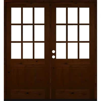 72 in. x 80 in. Craftsman Knotty Alder Wood Clear 9-Lite Red Mahogony Stain Right Active Double Prehung Front Door