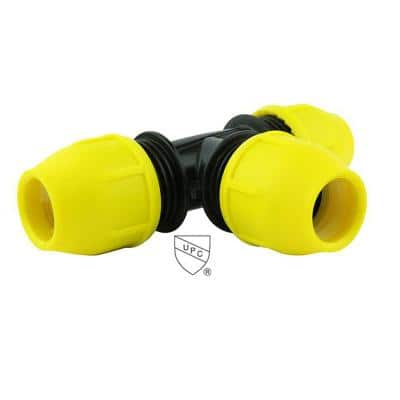 3/4 in. IPS DR 11 Underground Yellow Poly Gas Pipe Tee