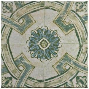 Klinker Retro Blanco Coreo Encaustic 12-3/4 in. x 12-3/4 in. Ceramic Floor and Wall Quarry Tile