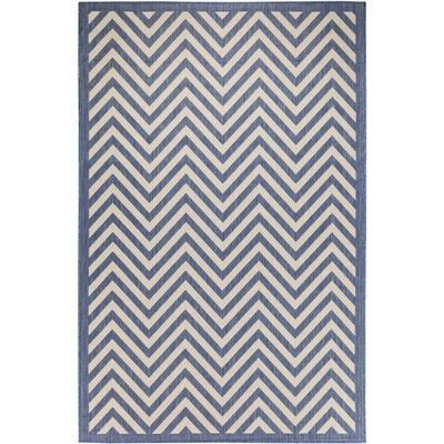 FW Collection Ellaville Dark Blue 9 ft. x 12 ft. Chevron Polypropylene Indoor/Outdoor Area Rug
