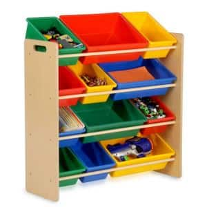 36 in. H x 13 in. W x 33 in. D Primary Colors Plastic 12-Cube Storage Organizer