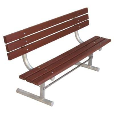6 ft. Brown Portable Commercial Park Recycled Plastic Bench with Back