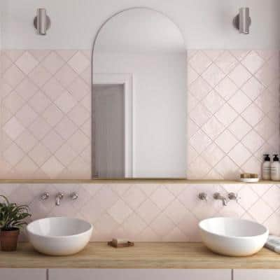 Pink 5.2 in. x 5.2 in. Polished Ceramic Subway Tile (10.72 sq. ft./Case)