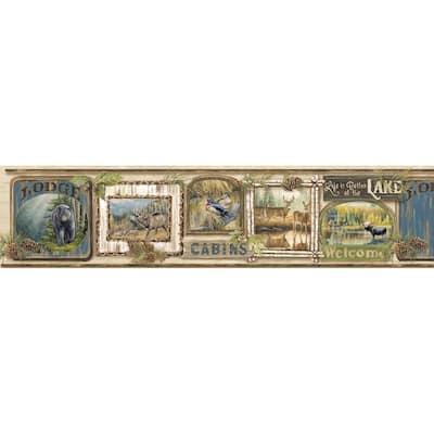 Poinsett Neutral Cabin Fever Neutral Wallpaper Border