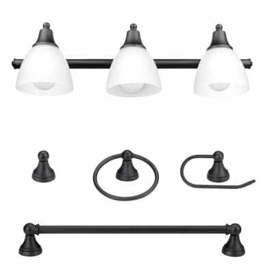 Jayden 3-Light Oil Rubbed Bronze Vanity Light with Frosted Glass Shades and 4-Piece Bath Set