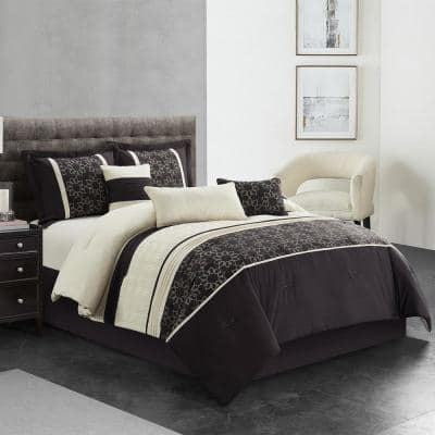 7-Piece Coffee Patchwork Polyester California King Comforter Set