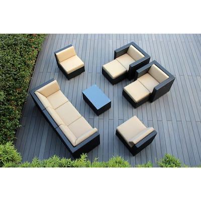 Black 10-Piece Wicker Patio Seating Set with Sunbrella Antique Beige Cushions