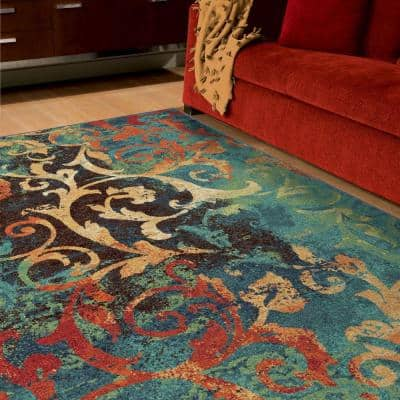 Watercolor Scroll Multi Bright Colors 7 ft. x 10 ft. Indoor Area Rug