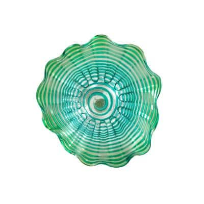 Waterfront 4 in. x 20 in. Wall Art Decor with Hand Blown Art Glass Style