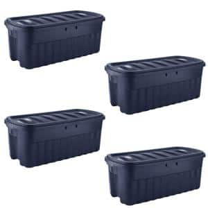 Roughneck 50 Gal. Rugged Stackable Storage Tote Container (4-Pack)