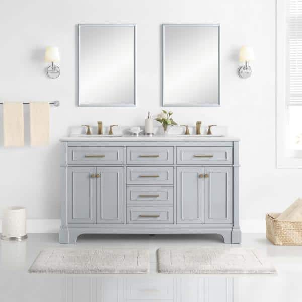 Home Decorators Collection Melpark 60 In W X 22 In D Bath Vanity In Dove Grey With A Cultured Marble Vanity Top In White With White Sink Melpark 60g The Home Depot