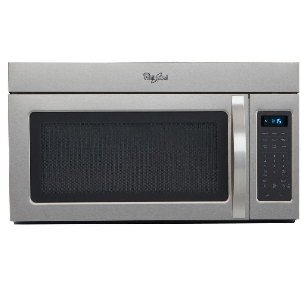 whirlpool 1 7 cu ft over the range microwave in stainless steel wmh31017as the home depot