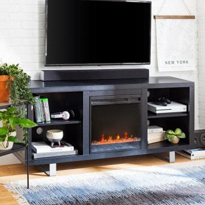 """58"""" Modern Electric Fireplace TV Stand - Black"""