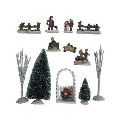 6 in. H Poly-resin Village Accessories (12-Piece)
